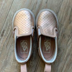 Toddler Rose Gold Slip On Vans